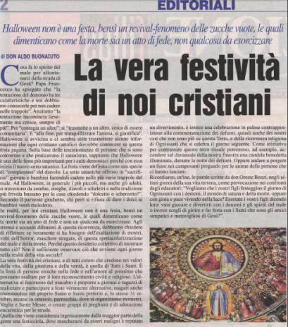 [EDITORIALE] La vera festività di noi cristiani